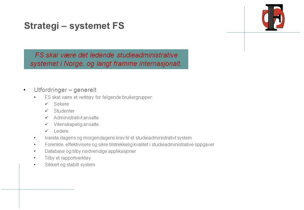 Strategi – systemet FS Utfordringer – generelt FS skal være et verktøy for følgende brukergrupper: Søkere Studenter Administrativt ansatte Vitenskapel
