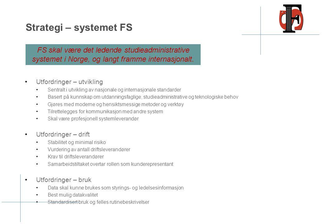 Strategi – systemet FS Utfordringer – utvikling Sentralt i utvikling av nasjonale og internasjonale standarder Basert på kunnskap om utdanningsfaglige