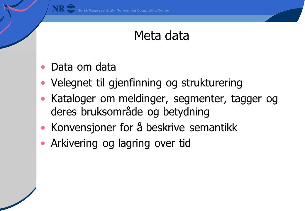 Meta data Data om data Velegnet til gjenfinning og strukturering Kataloger om meldinger, segmenter, tagger og deres bruksområde og betydning Konvensjoner for å beskrive semantikk Arkivering og lagring over tid