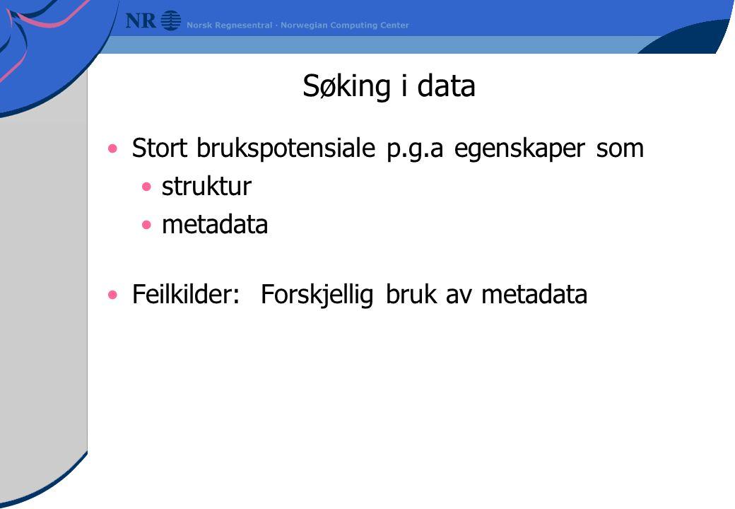 Søking i data Stort brukspotensiale p.g.a egenskaper som struktur metadata Feilkilder: Forskjellig bruk av metadata