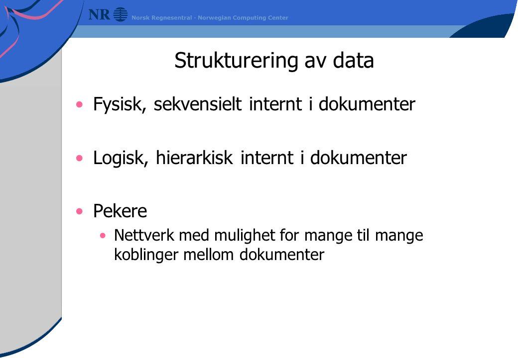 Strukturering av data Fysisk, sekvensielt internt i dokumenter Logisk, hierarkisk internt i dokumenter Pekere Nettverk med mulighet for mange til mange koblinger mellom dokumenter