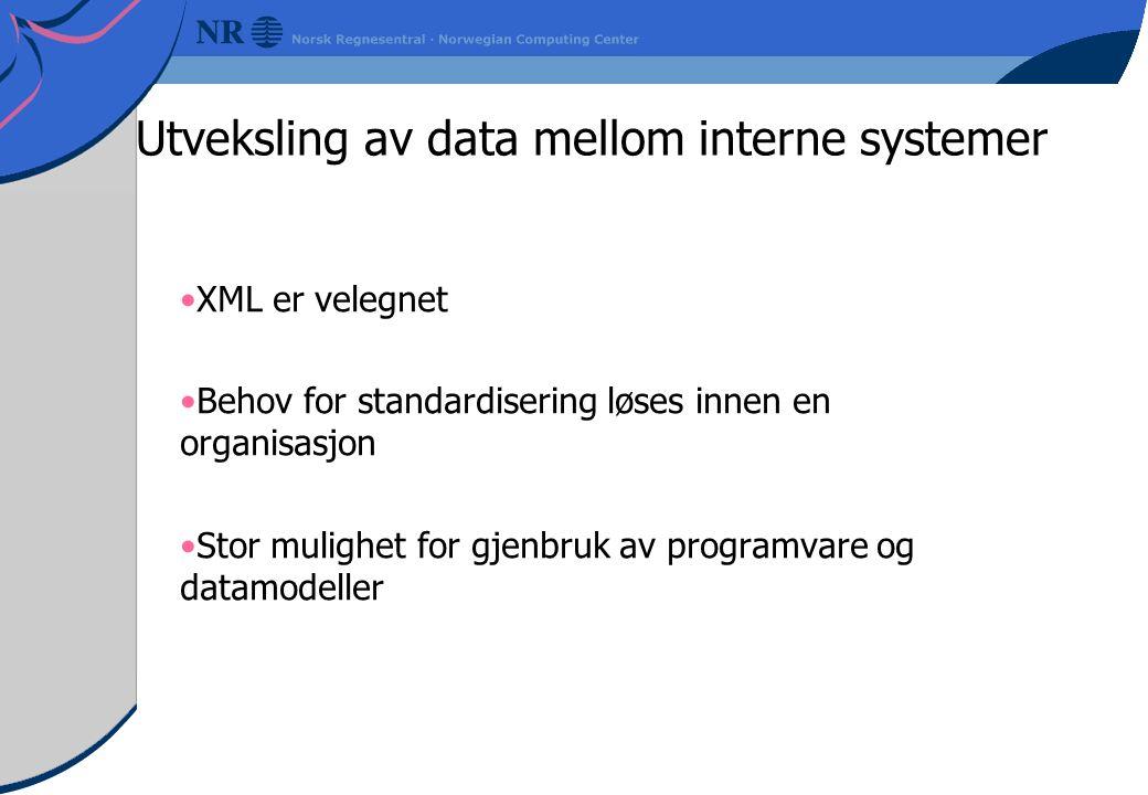 Utveksling av data mellom interne systemer XML er velegnet Behov for standardisering løses innen en organisasjon Stor mulighet for gjenbruk av programvare og datamodeller