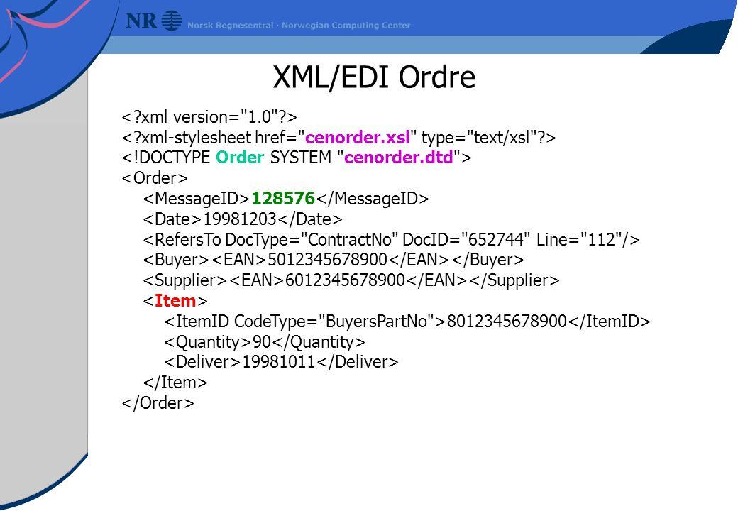 XML/EDI Ordre 128576 19981203 5012345678900 6012345678900 8012345678900 90 19981011