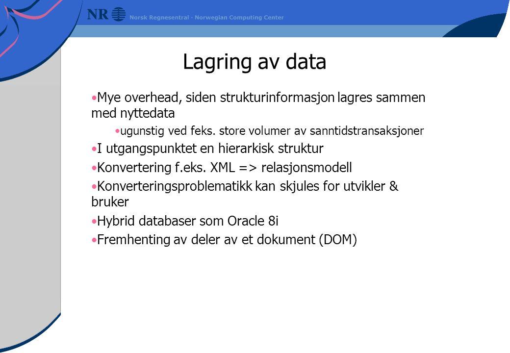Lagring av data Mye overhead, siden strukturinformasjon lagres sammen med nyttedata ugunstig ved feks.