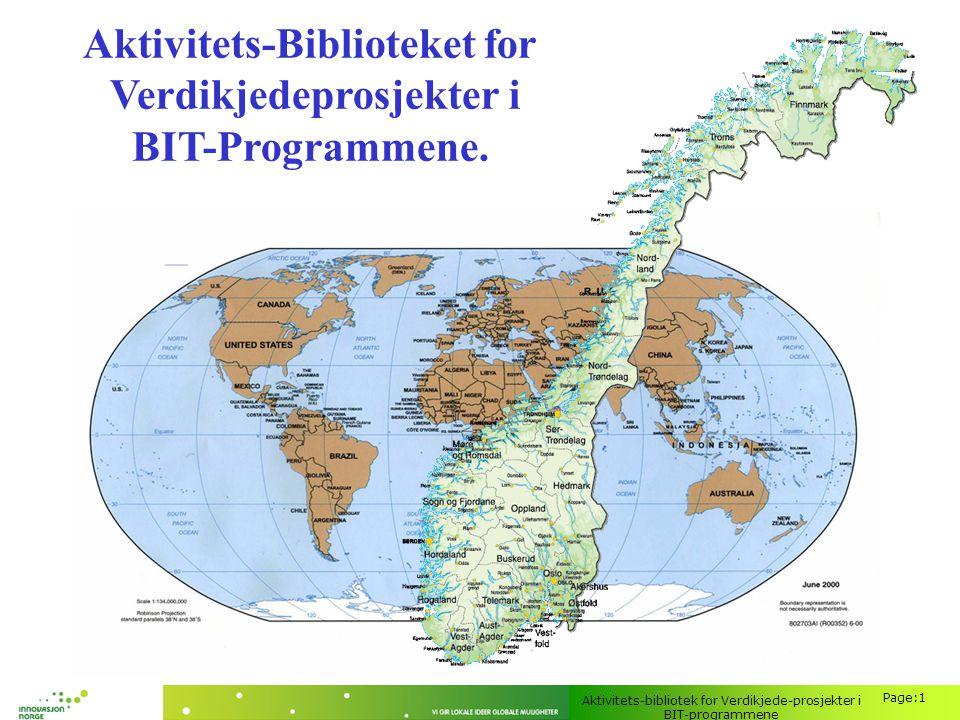 Aktivitets-bibliotek for Verdikjede-prosjekter i BIT-programmene Page:1 Aktivitets-Biblioteket for Verdikjedeprosjekter i BIT-Programmene.
