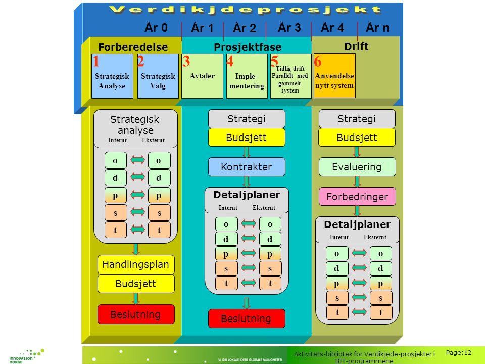 Aktivitets-bibliotek for Verdikjede-prosjekter i BIT-programmene Page:12 Valg- fasen Strategisk Analyse Strategisk Valg Forberedelse Prosjektfase Avta