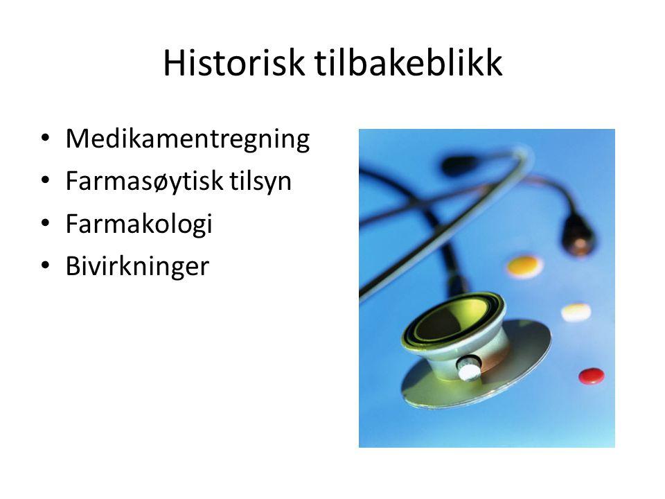 Historisk tilbakeblikk Medikamentregning Farmasøytisk tilsyn Farmakologi Bivirkninger