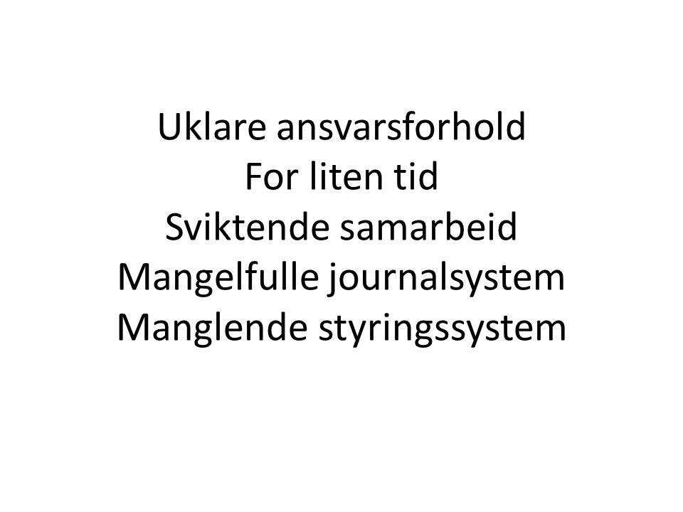 Uklare ansvarsforhold For liten tid Sviktende samarbeid Mangelfulle journalsystem Manglende styringssystem