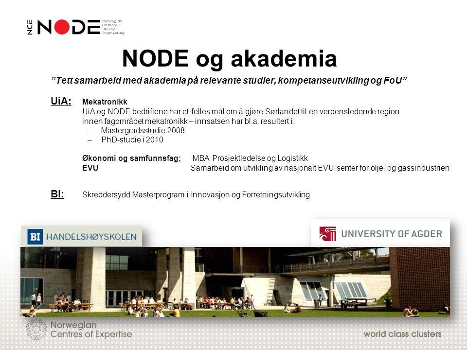 """NODE og akademia """"Tett samarbeid med akademia på relevante studier, kompetanseutvikling og FoU"""" UiA: Mekatronikk UiA og NODE bedriftene har et felles"""