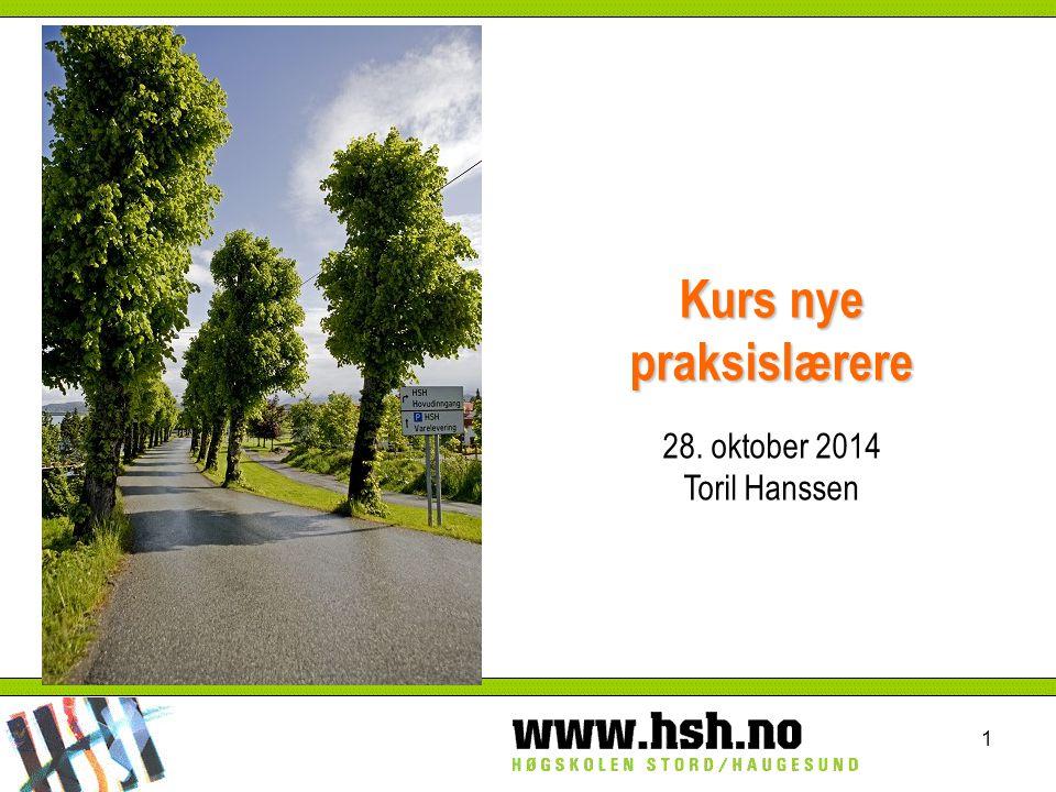 Kurs nye praksislærere 28. oktober 2014 Toril Hanssen 1