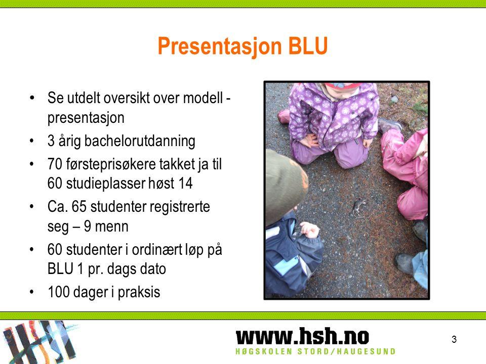 Presentasjon BLU Se utdelt oversikt over modell - presentasjon 3 årig bachelorutdanning 70 førsteprisøkere takket ja til 60 studieplasser høst 14 Ca.