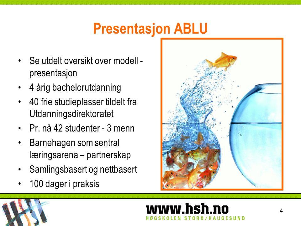 Presentasjon ABLU Se utdelt oversikt over modell - presentasjon 4 årig bachelorutdanning 40 frie studieplasser tildelt fra Utdanningsdirektoratet Pr.