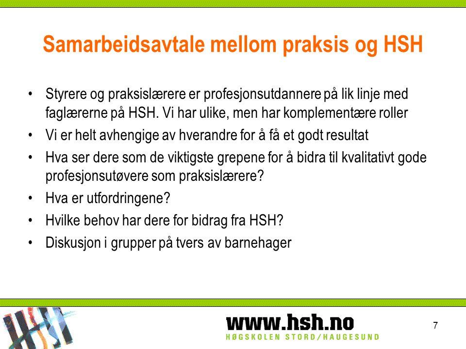 Samarbeidsavtale mellom praksis og HSH Styrere og praksislærere er profesjonsutdannere på lik linje med faglærerne på HSH.