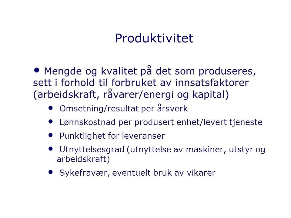 Produktivitet Mengde og kvalitet på det som produseres, sett i forhold til forbruket av innsatsfaktorer (arbeidskraft, råvarer/energi og kapital) Omse
