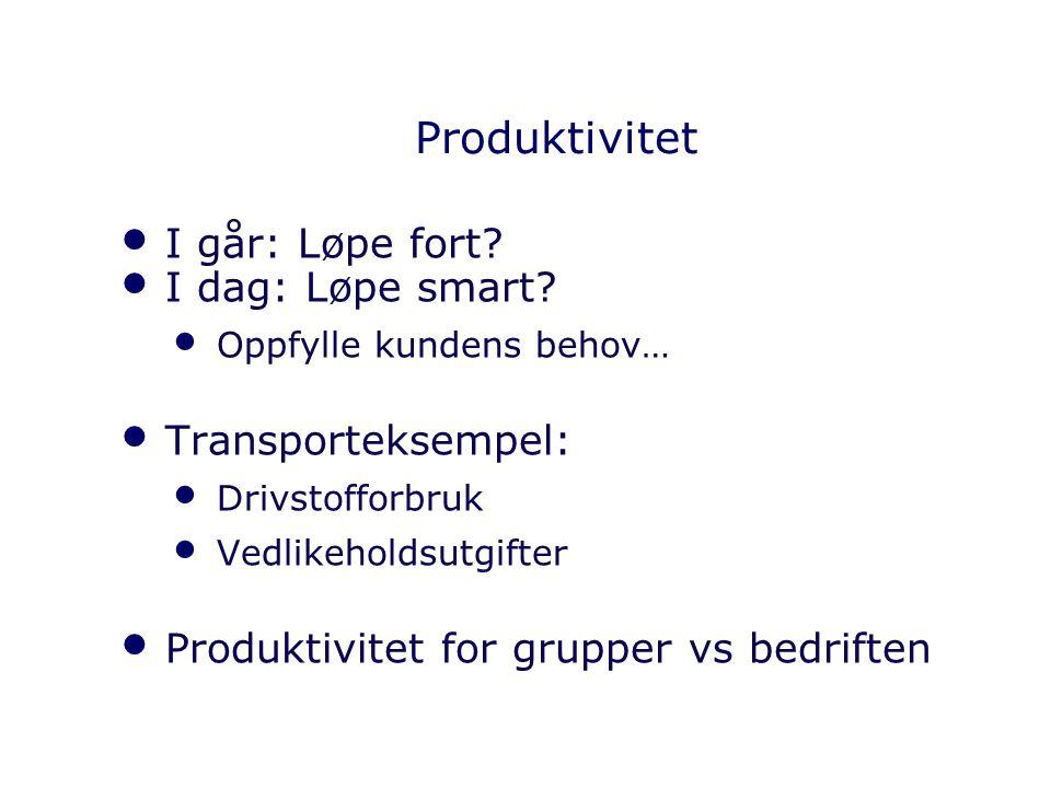 Produktivitet I går: Løpe fort? I dag: Løpe smart? Oppfylle kundens behov… Transporteksempel: Drivstofforbruk Vedlikeholdsutgifter Produktivitet for g