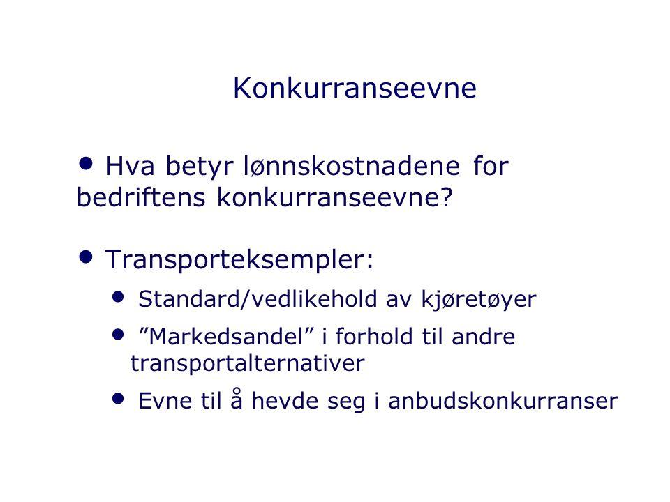 """Konkurranseevne Hva betyr lønnskostnadene for bedriftens konkurranseevne? Transporteksempler: Standard/vedlikehold av kjøretøyer """"Markedsandel"""" i forh"""