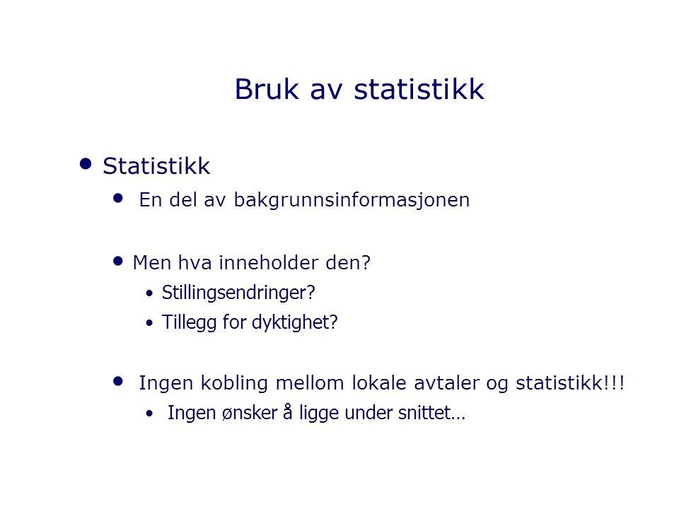 Bruk av statistikk Statistikk En del av bakgrunnsinformasjonen Men hva inneholder den? Stillingsendringer? Tillegg for dyktighet? Ingen kobling mellom