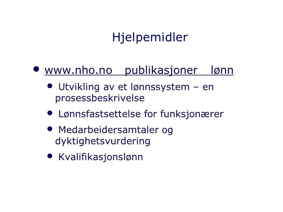 Hjelpemidler www.nho.no publikasjoner lønn Utvikling av et lønnssystem – en prosessbeskrivelse Lønnsfastsettelse for funksjonærer Medarbeidersamtaler