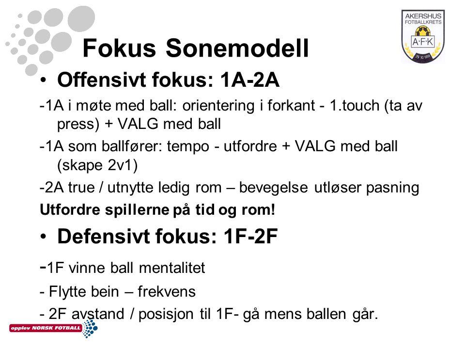 Fokus Sonemodell Offensivt fokus: 1A-2A -1A i møte med ball: orientering i forkant - 1.touch (ta av press) + VALG med ball -1A som ballfører: tempo - utfordre + VALG med ball (skape 2v1) -2A true / utnytte ledig rom – bevegelse utløser pasning Utfordre spillerne på tid og rom.