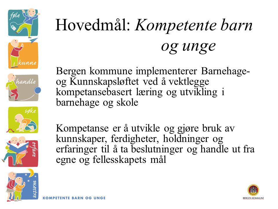 Hovedmål: Kompetente barn og unge Bergen kommune implementerer Barnehage- og Kunnskapsløftet ved å vektlegge kompetansebasert læring og utvikling i ba