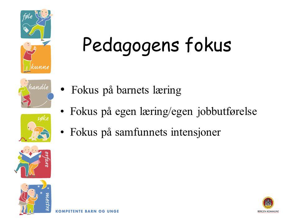 Pedagogens fokus Fokus på barnets læring Fokus på egen læring/egen jobbutførelse Fokus på samfunnets intensjoner