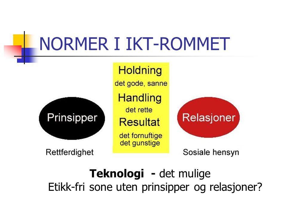 NORMER I IKT-ROMMET Teknologi - det mulige Etikk-fri sone uten prinsipper og relasjoner