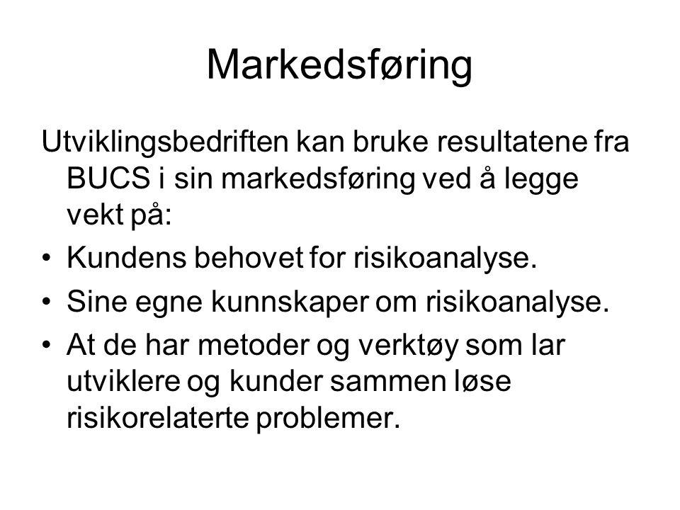 Markedsføring Utviklingsbedriften kan bruke resultatene fra BUCS i sin markedsføring ved å legge vekt på: Kundens behovet for risikoanalyse.