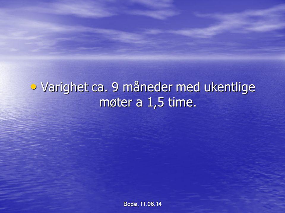 Varighet ca. 9 måneder med ukentlige møter a 1,5 time. Varighet ca. 9 måneder med ukentlige møter a 1,5 time. Bodø, 11.06.14