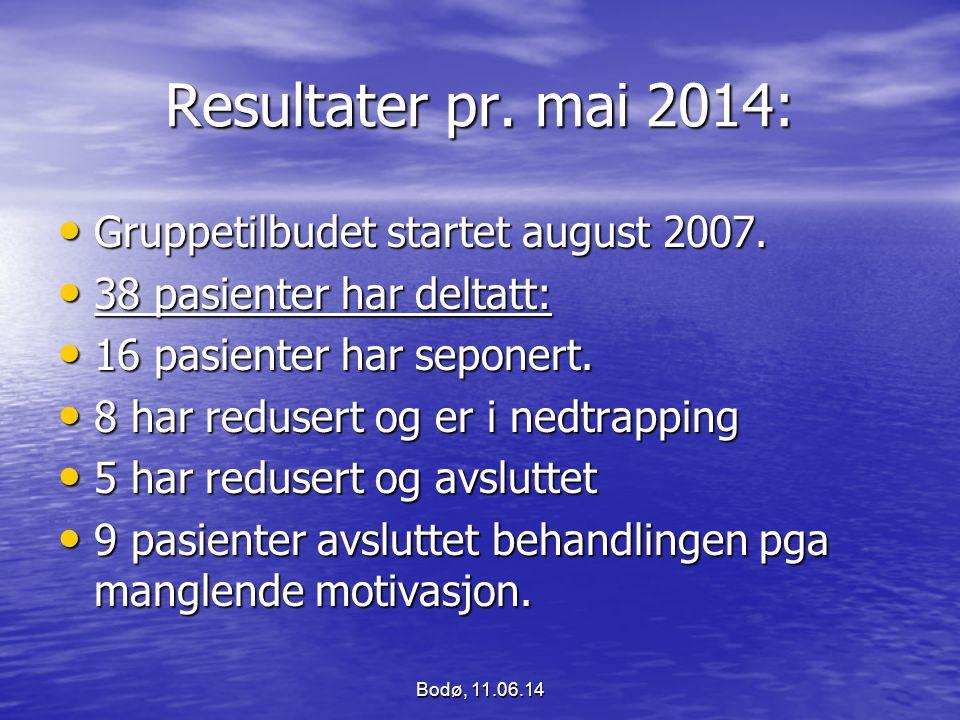 Resultater pr. mai 2014: Gruppetilbudet startet august 2007. Gruppetilbudet startet august 2007. 38 pasienter har deltatt: 38 pasienter har deltatt: 1