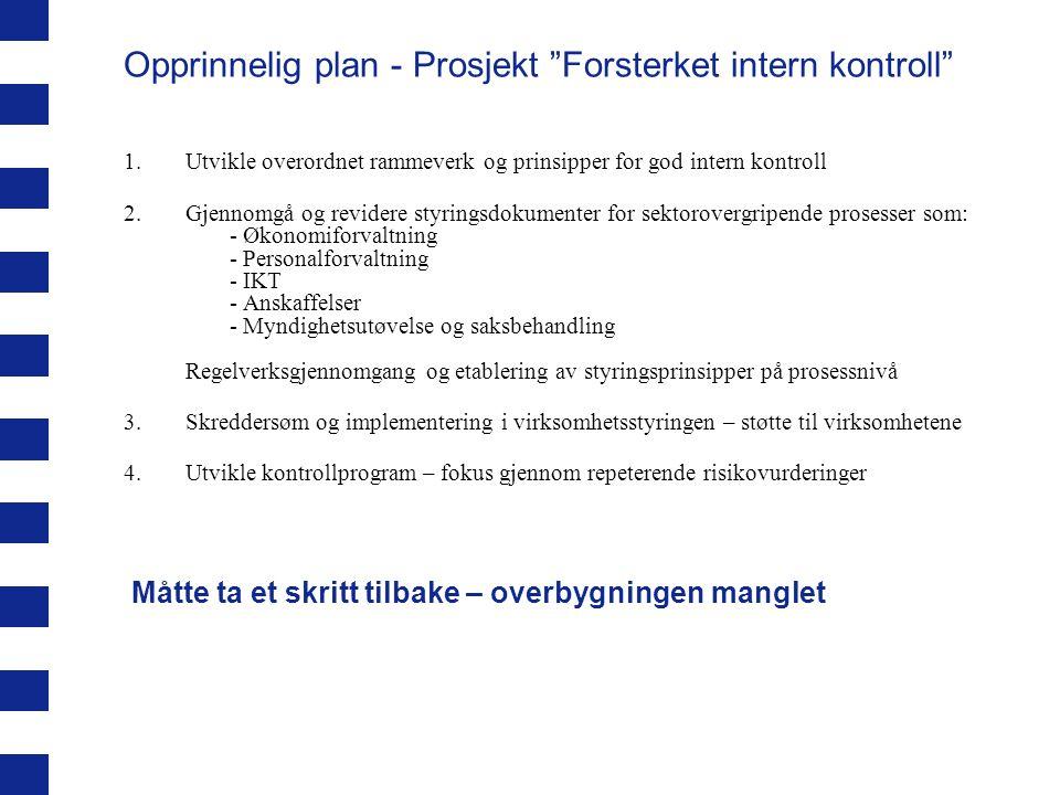 """Opprinnelig plan - Prosjekt """"Forsterket intern kontroll"""" 1.Utvikle overordnet rammeverk og prinsipper for god intern kontroll 2.Gjennomgå og revidere"""