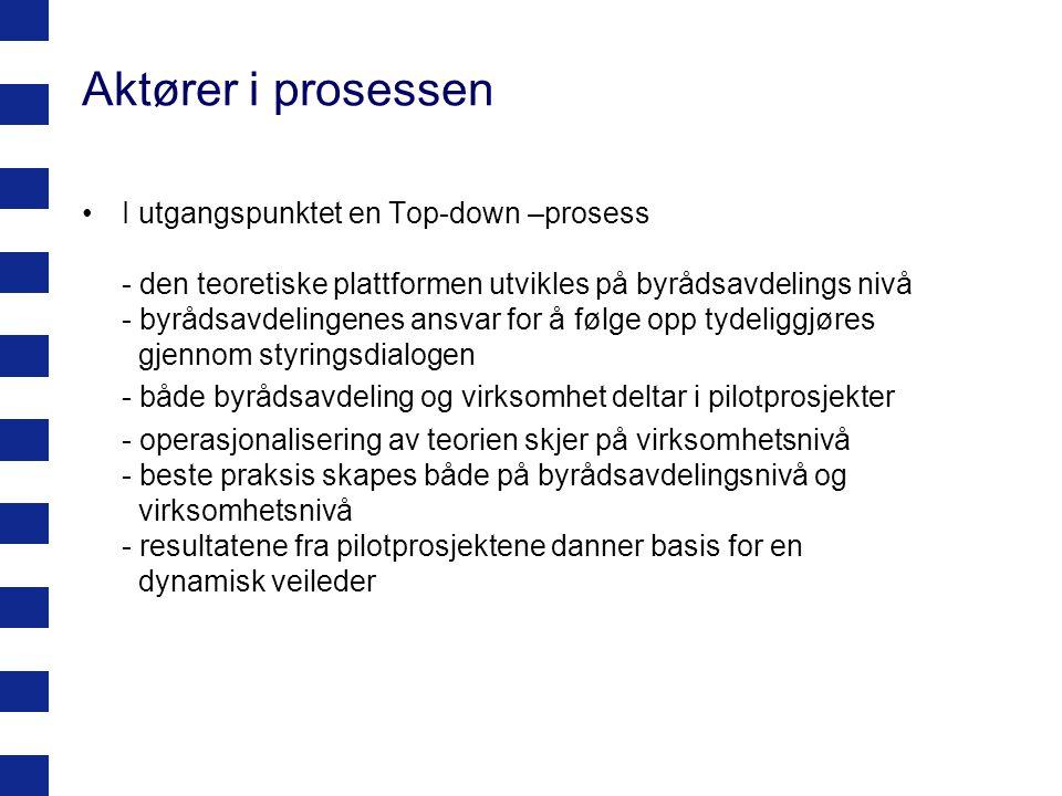 Aktører i prosessen I utgangspunktet en Top-down –prosess - den teoretiske plattformen utvikles på byrådsavdelings nivå - byrådsavdelingenes ansvar fo
