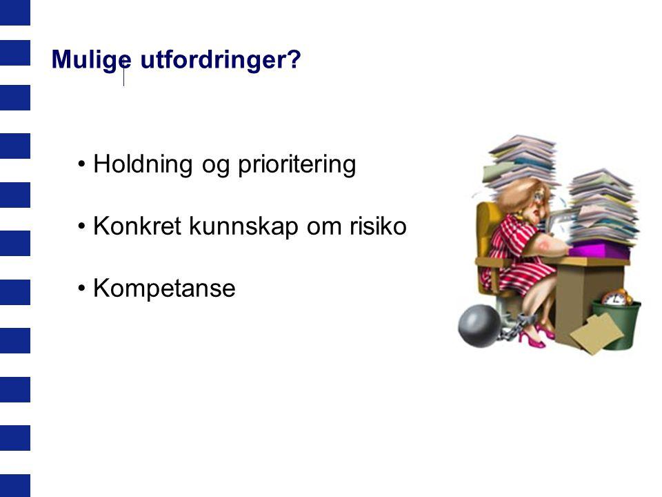 Oslo kommune Byrådslederens avdeling Mulige utfordringer? Holdning og prioritering Konkret kunnskap om risiko Kompetanse