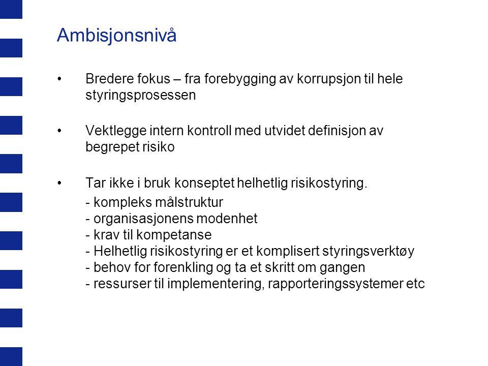 Ambisjonsnivå Bredere fokus – fra forebygging av korrupsjon til hele styringsprosessen Vektlegge intern kontroll med utvidet definisjon av begrepet ri