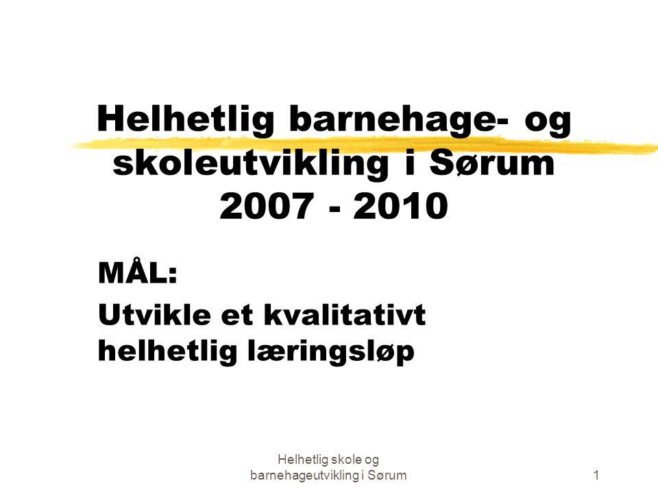 Helhetlig skole og barnehageutvikling i Sørum1 Helhetlig barnehage- og skoleutvikling i Sørum 2007 - 2010 MÅL: Utvikle et kvalitativt helhetlig læringsløp