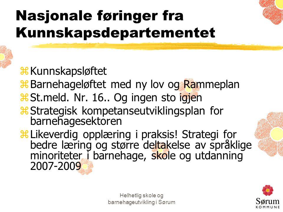 Helhetlig skole og barnehageutvikling i Sørum4 Nasjonale føringer fra Kunnskapsdepartementet zKunnskapsløftet zBarnehageløftet med ny lov og Rammeplan zSt.meld.