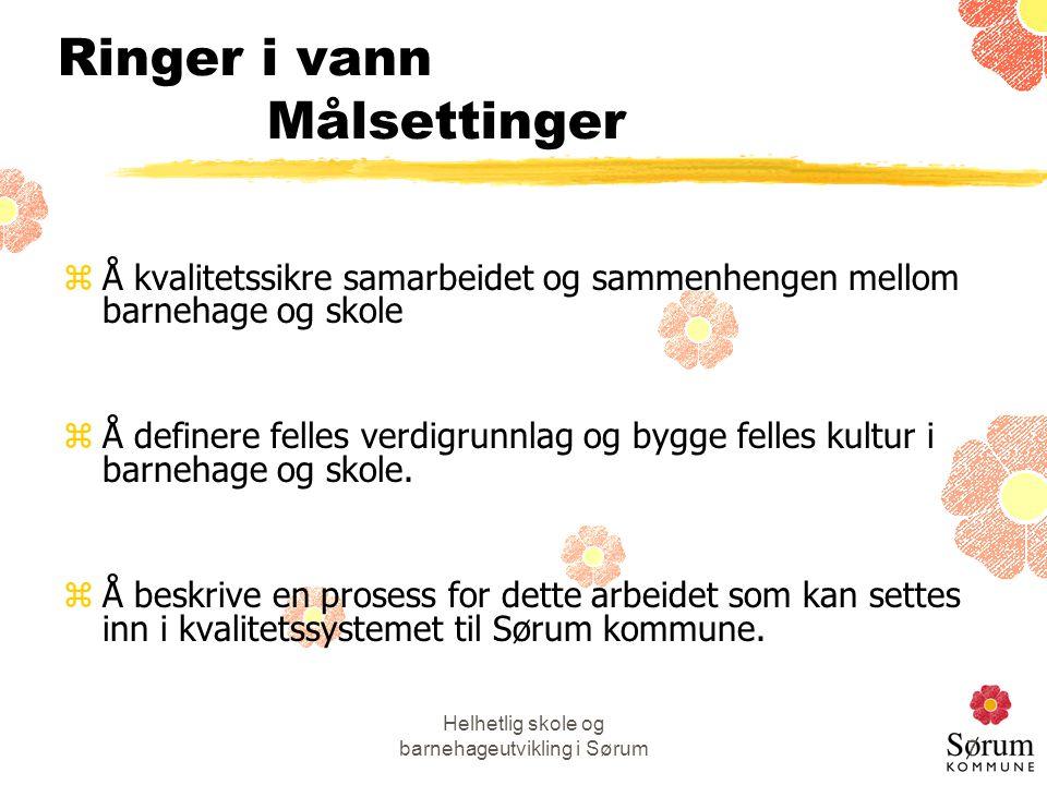 Helhetlig skole og barnehageutvikling i Sørum7 Ringer i vann Målsettinger zÅ kvalitetssikre samarbeidet og sammenhengen mellom barnehage og skole zÅ definere felles verdigrunnlag og bygge felles kultur i barnehage og skole.