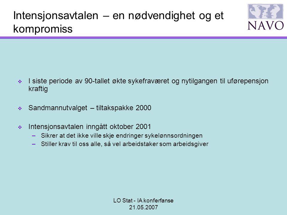 LO Stat - IA konferfanse 21.05.2007 Intensjonsavtalen – en nødvendighet og et kompromiss  I siste periode av 90-tallet økte sykefraværet og nytilgang