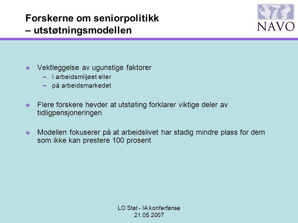 LO Stat - IA konferfanse 21.05.2007 Forskerne om seniorpolitikk – utstøtningsmodellen  Vektleggelse av ugunstige faktorer –i arbeidsmiljøet eller –på