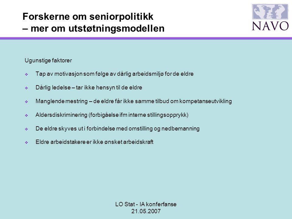 LO Stat - IA konferfanse 21.05.2007 Forskerne om seniorpolitikk – mer om utstøtningsmodellen Ugunstige faktorer  Tap av motivasjon som følge av dårli