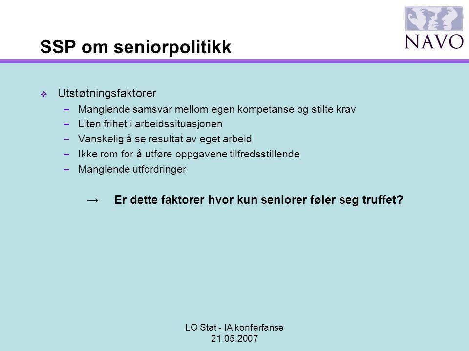 LO Stat - IA konferfanse 21.05.2007 SSP om seniorpolitikk  Utstøtningsfaktorer –Manglende samsvar mellom egen kompetanse og stilte krav –Liten frihet
