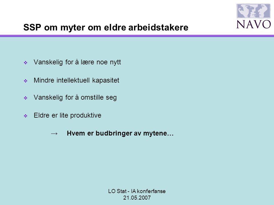 LO Stat - IA konferfanse 21.05.2007 SSP om myter om eldre arbeidstakere  Vanskelig for å lære noe nytt  Mindre intellektuell kapasitet  Vanskelig f