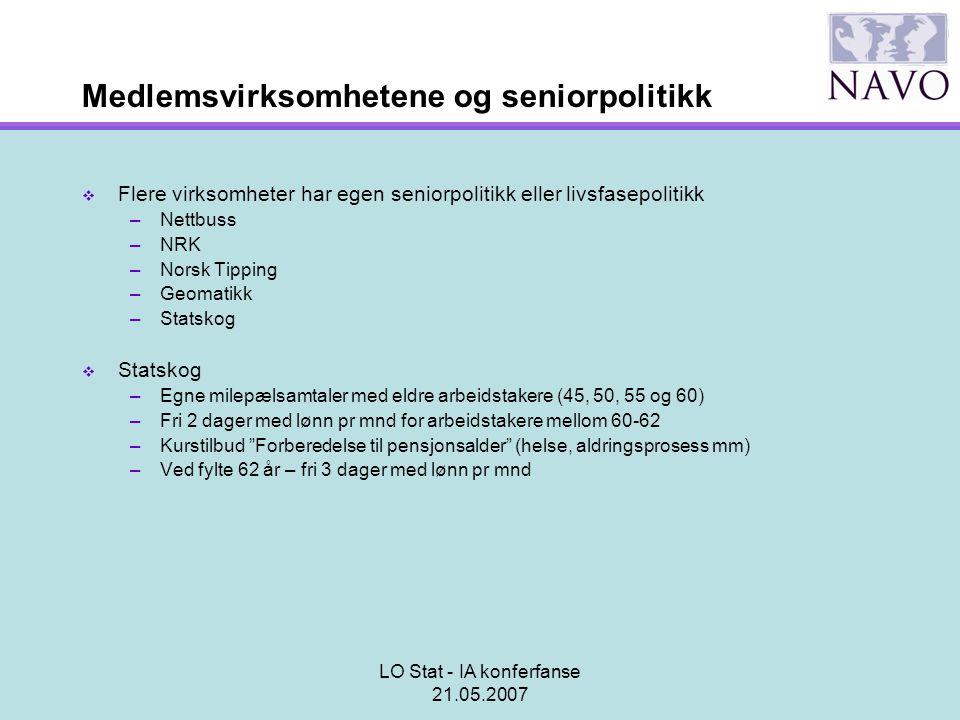 LO Stat - IA konferfanse 21.05.2007 Medlemsvirksomhetene og seniorpolitikk  Flere virksomheter har egen seniorpolitikk eller livsfasepolitikk –Nettbu