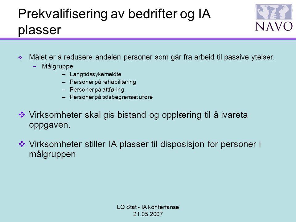 LO Stat - IA konferfanse 21.05.2007 Prekvalifisering av bedrifter og IA plasser  Målet er å redusere andelen personer som går fra arbeid til passive
