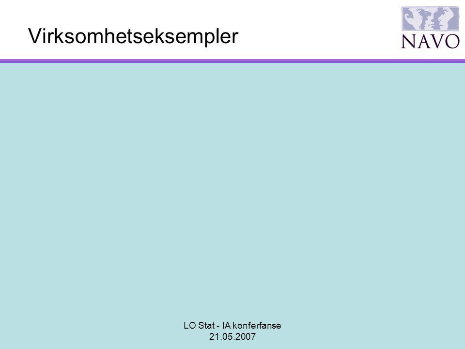 LO Stat - IA konferfanse 21.05.2007 Virksomhetseksempler