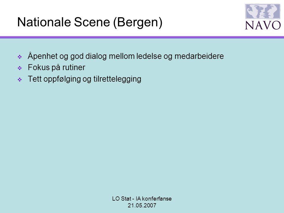 LO Stat - IA konferfanse 21.05.2007 Nationale Scene (Bergen)  Åpenhet og god dialog mellom ledelse og medarbeidere  Fokus på rutiner  Tett oppfølgi