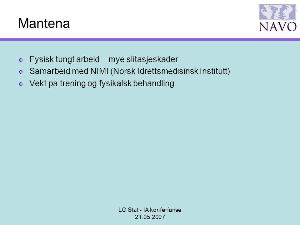 LO Stat - IA konferfanse 21.05.2007 Mantena  Fysisk tungt arbeid – mye slitasjeskader  Samarbeid med NIMI (Norsk Idrettsmedisinsk Institutt)  Vekt
