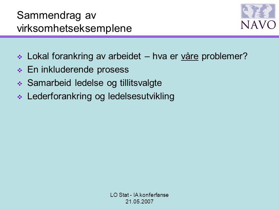 LO Stat - IA konferfanse 21.05.2007 Sammendrag av virksomhetseksemplene  Lokal forankring av arbeidet – hva er våre problemer?  En inkluderende pros
