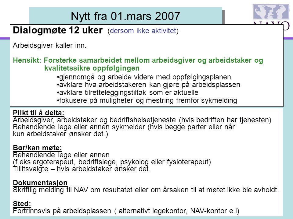 LO Stat - IA konferfanse 21.05.2007 Nytt fra 01.mars 2007 Dialogmøte 12 uker (dersom ikke aktivitet) Arbeidsgiver kaller inn. Hensikt: Forsterke samar