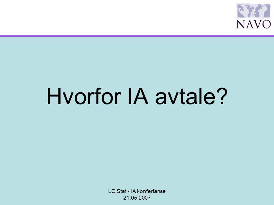 LO Stat - IA konferfanse 21.05.2007 Hvorfor IA avtale?