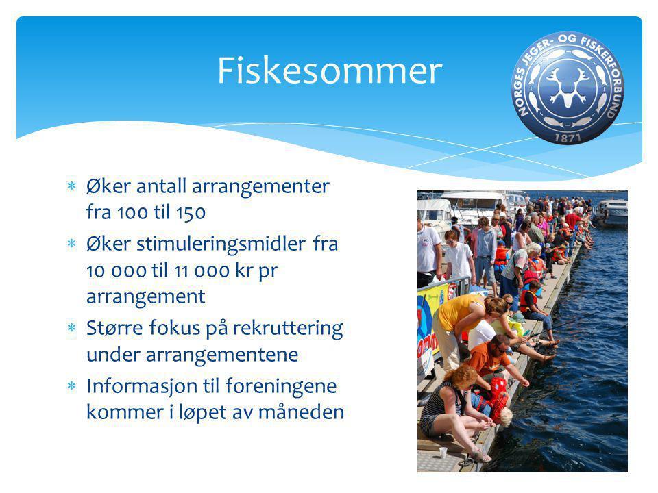  Øker antall arrangementer fra 100 til 150  Øker stimuleringsmidler fra 10 000 til 11 000 kr pr arrangement  Større fokus på rekruttering under arrangementene  Informasjon til foreningene kommer i løpet av måneden Fiskesommer